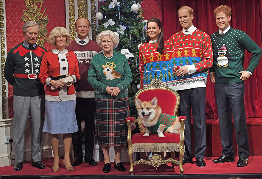 royal-family-wax-figurines-ugly-christmas-sweaters-4